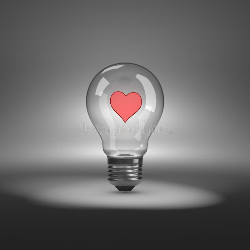 Ampola com forma do coração para dentro ilustração royalty free