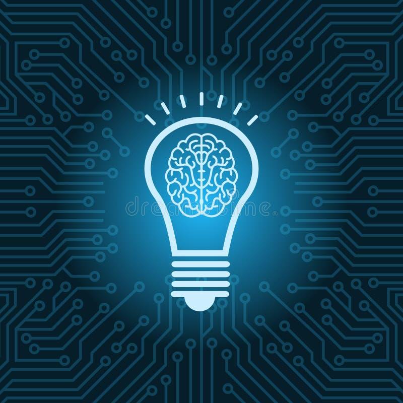 Ampola com fundo do cartão-matriz do circuito de Brain Inside Icon Over Blue ilustração royalty free