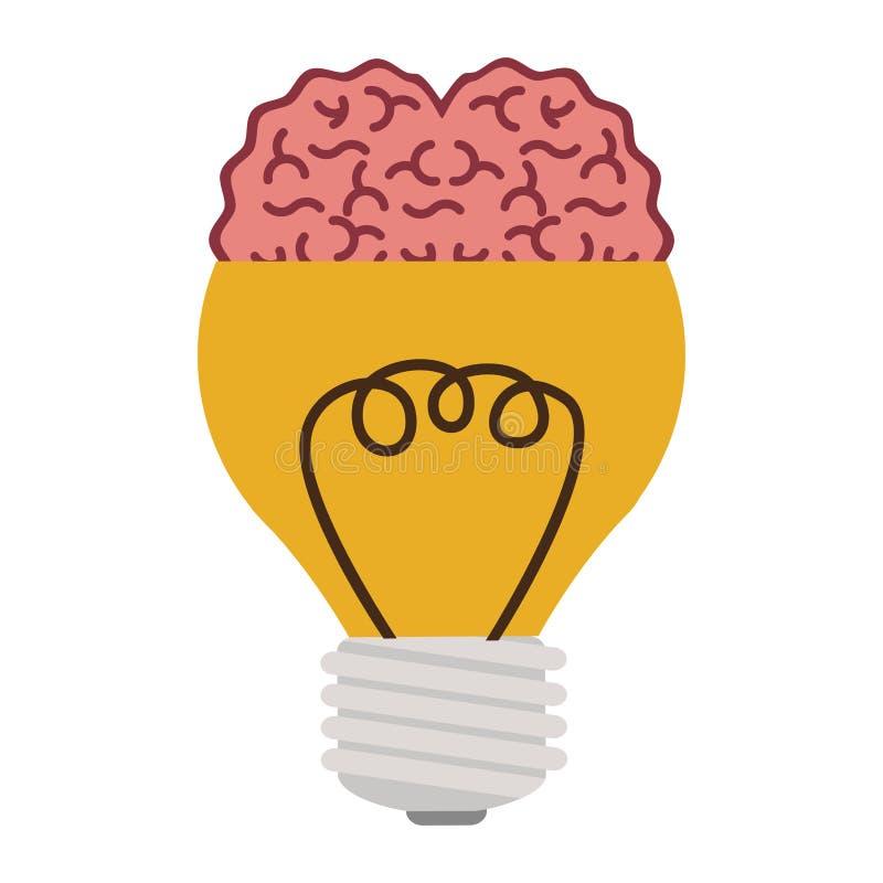 Ampola com o cérebro na parte superior ilustração do vetor