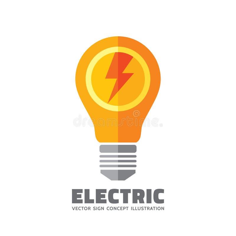 Ampola com relâmpago - vector a ilustração do conceito do molde do logotipo no estilo liso Sinal da lâmpada elétrica Elemento do  ilustração do vetor