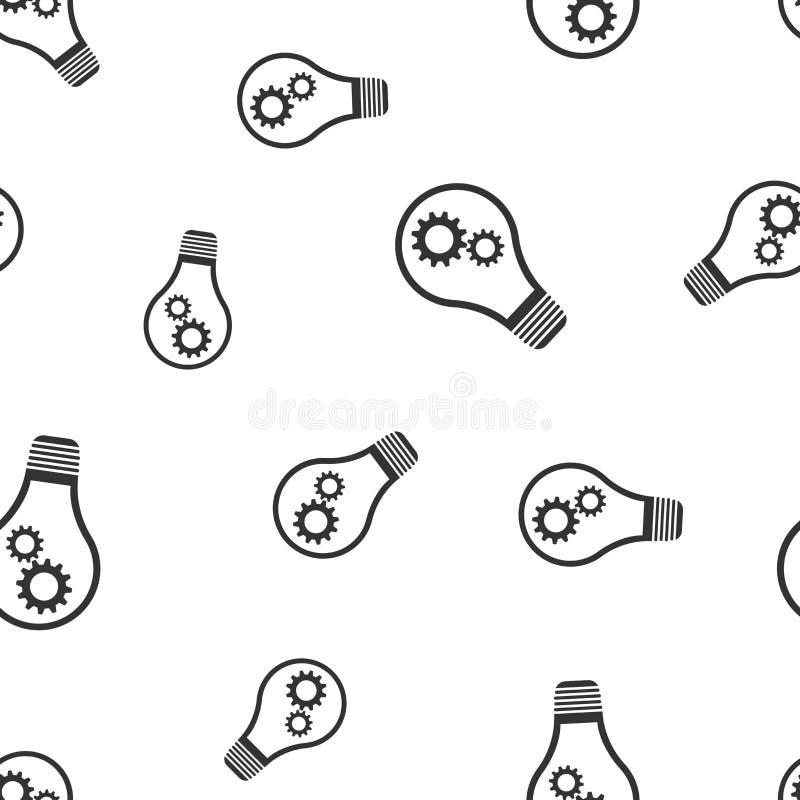 Ampola com teste padrão sem emenda da engrenagem Lightbul do conceito do negócio ilustração stock