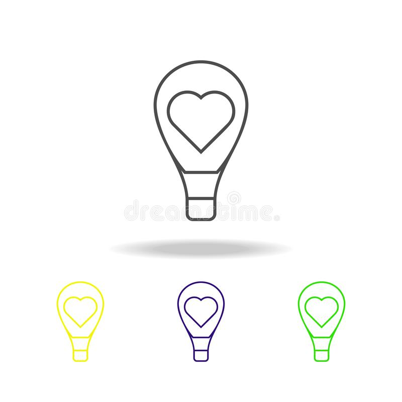 ampola com um ícone colorido do coração O elemento do casamento, linha fina ícone colorido pode ser usado para a Web, logotipo, a ilustração do vetor