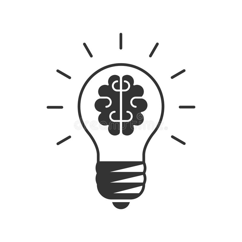 Ampola com um cérebro dentro do ícone ilustração stock