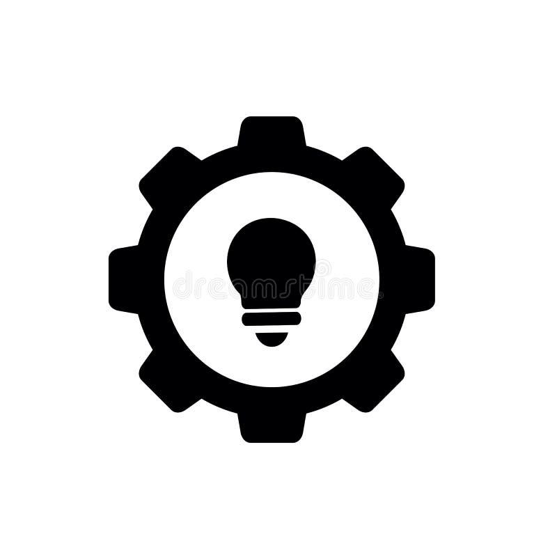 Ampola combinada com a engrenagem, projeto da ilustração do vetor ilustração do vetor