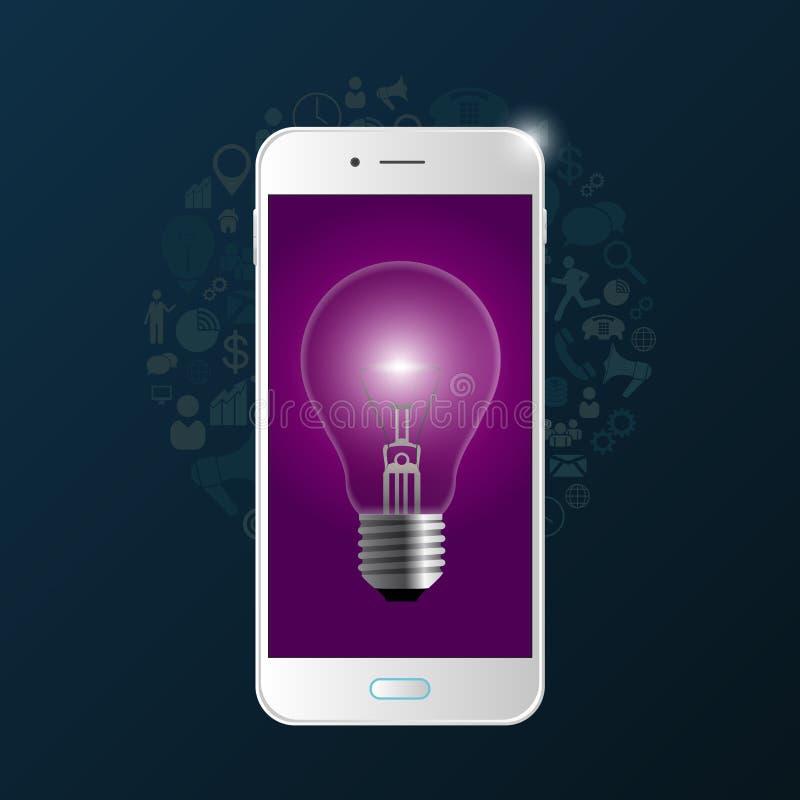 Ampola criativa com telefone e ícones Vetor ilustração stock