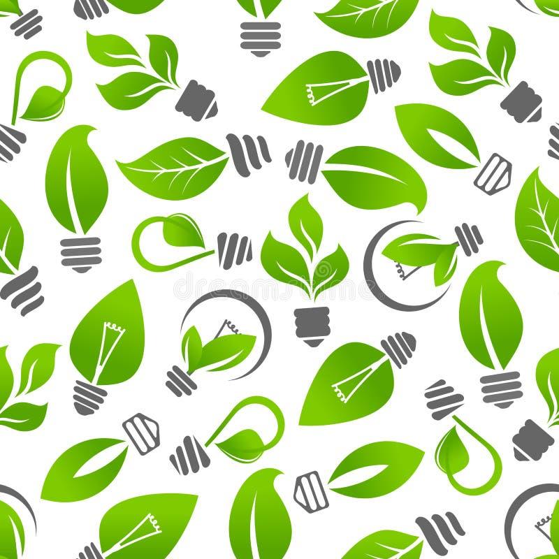 Ampola da energia de Eco com teste padrão sem emenda da folha ilustração do vetor
