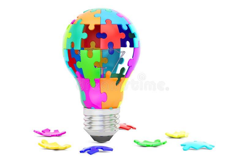 Ampola das partes do enigma, da ideia e do conceito da solução 3d ren ilustração stock