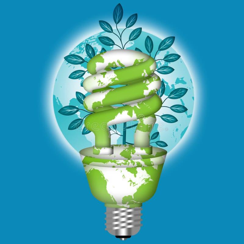 Ampola de Eco da economia de energia com globo do mundo ilustração stock