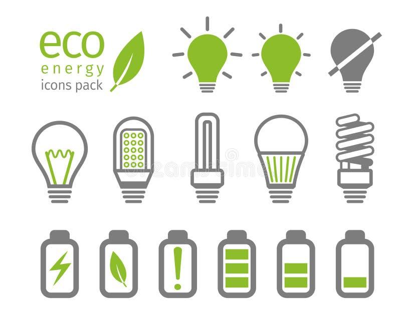 Ampola de Eco e grupo do ícone da bateria Ilustração do vetor ilustração stock