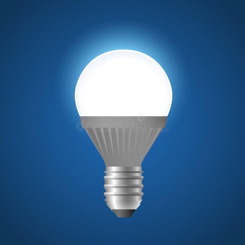 Ampola de incandescência do diodo emissor de luz - ilustração realística do vetor moderno ilustração stock