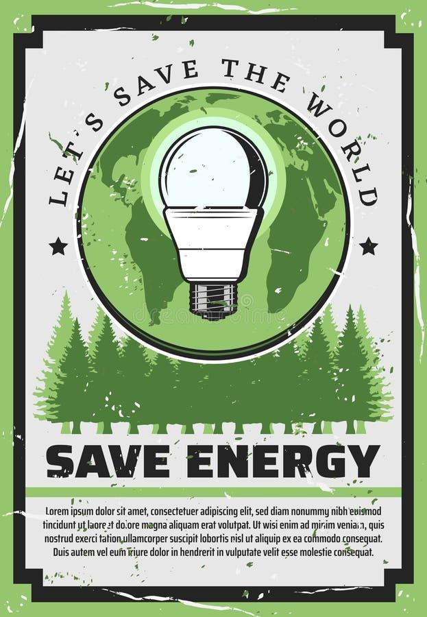Ampola de salvamento da energia com terra e a árvore verde ilustração do vetor
