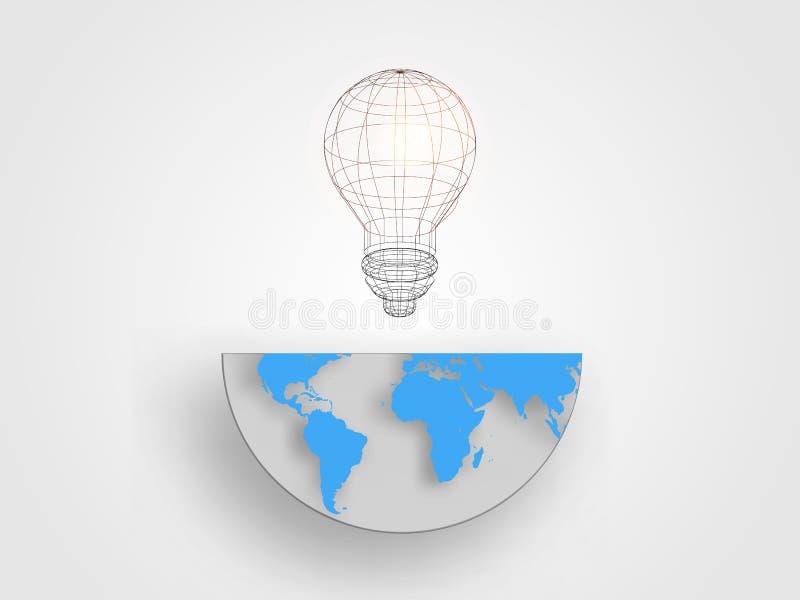 A ampola de Wireframe no meio tamanho do mapa da terra representa o conceito da inovação e da ideia Fundo da tecnologia fotos de stock