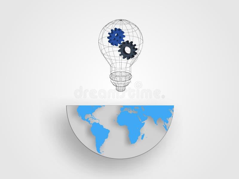 A ampola de Wireframe que contém as engrenagens no meio tamanho do mapa da terra representa o conceito da inovação e da ideia Fun foto de stock