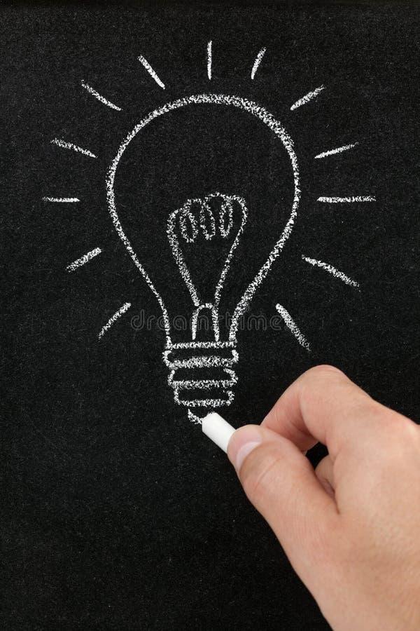 Ampola desenhada em um quadro-negro imagens de stock royalty free