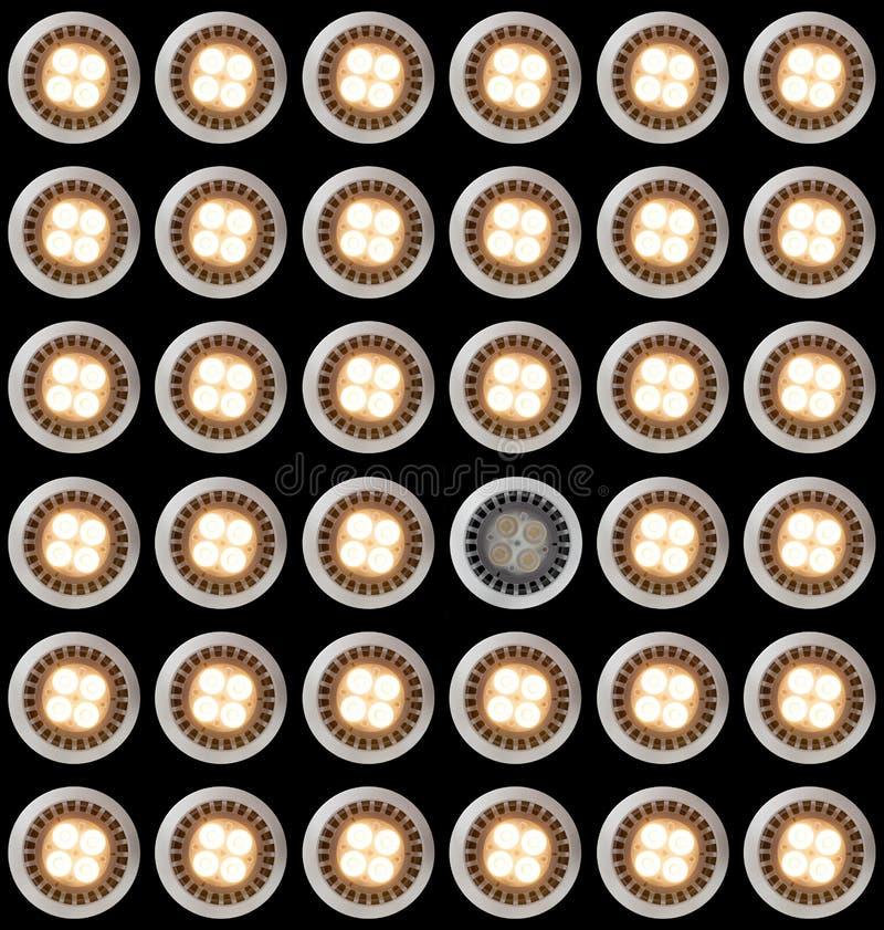 Ampola do diodo emissor de luz iluminada de cima de imagem de stock
