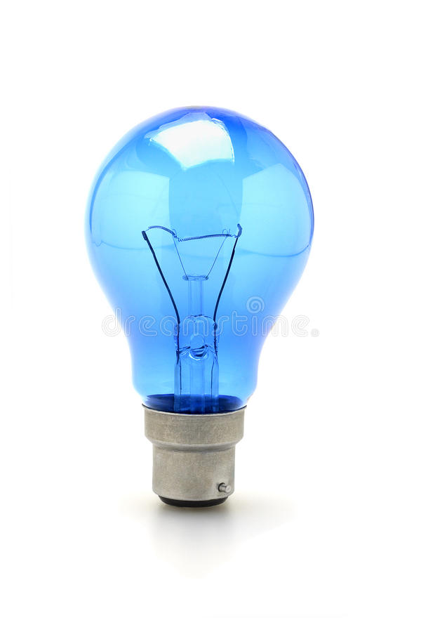 Ampola do tungstênio azul fotografia de stock