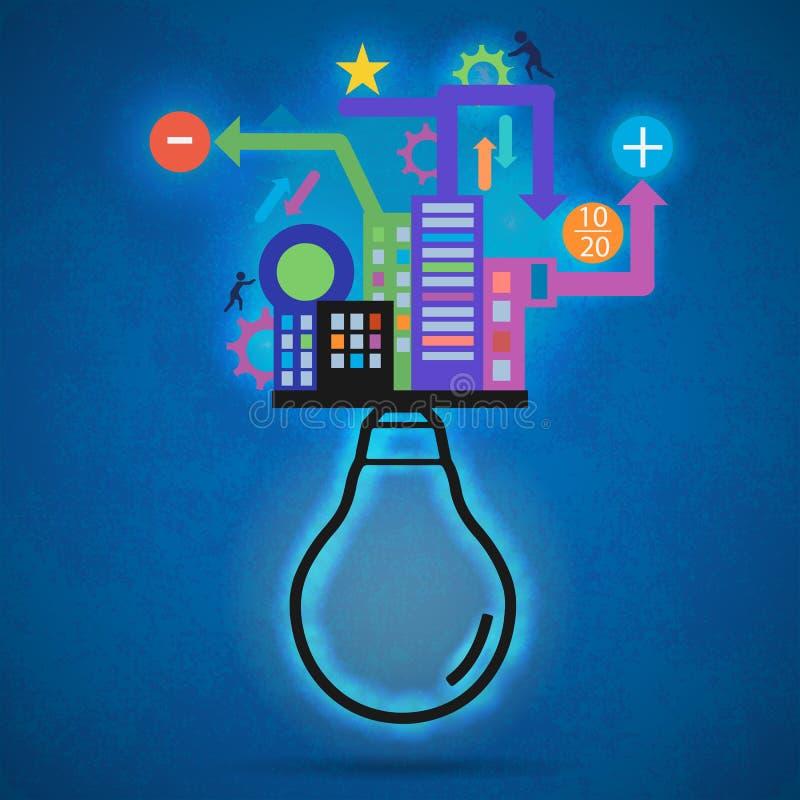 Ampola do vetor criativo moderno com os gráficos coloridos da informação ilustração stock
