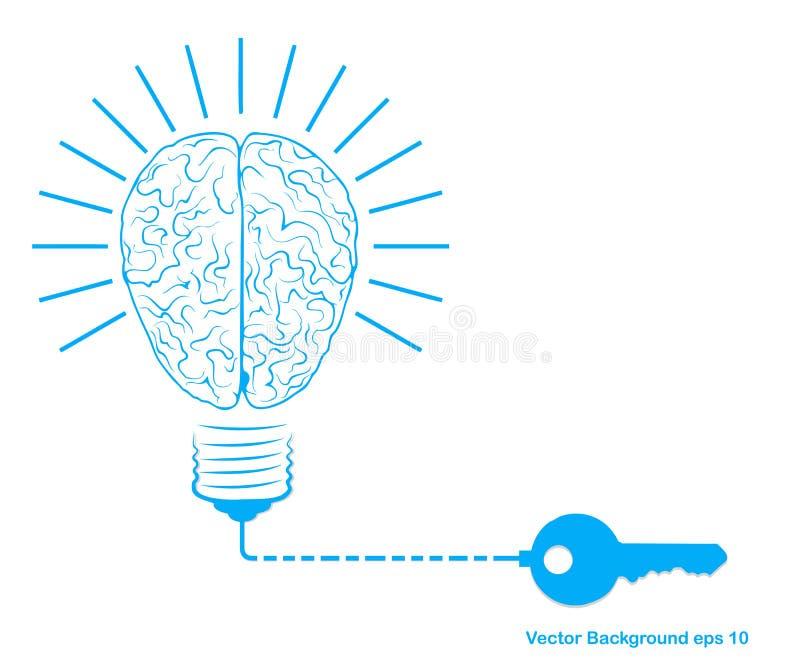 Ampola e cérebro criativos, conceito da ideia com símbolo chave Ilustração do vetor ilustração stock