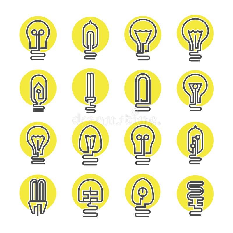 Ampola e de lâmpada do diodo emissor de luz grupo do ícone ilustração stock