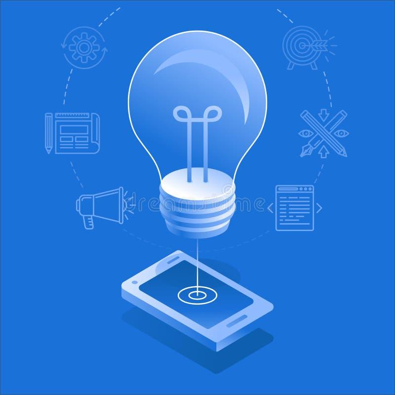 Ampola e telefone celular - processo criativo do desenvolvimento do app ilustração do vetor