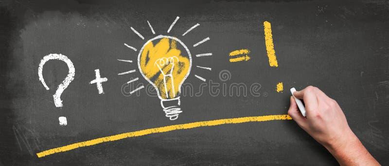 Ampola em um quadro-negro e em uma mão com o giz que faz uma equação do sucesso imagem de stock royalty free