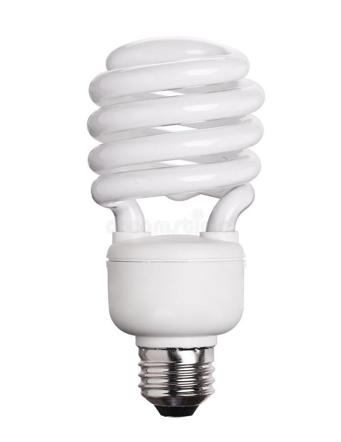 Ampola fluorescente de CFL isolada no branco imagem de stock