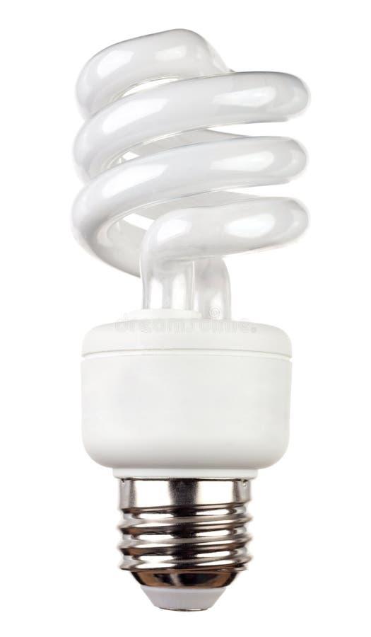 Ampola fluorescente de poupança de energia isolada no branco fotografia de stock