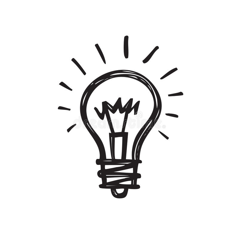 Ampola - ilustração criativa do vetor da tração do esboço Sinal do logotipo da lâmpada elétrica ilustração stock