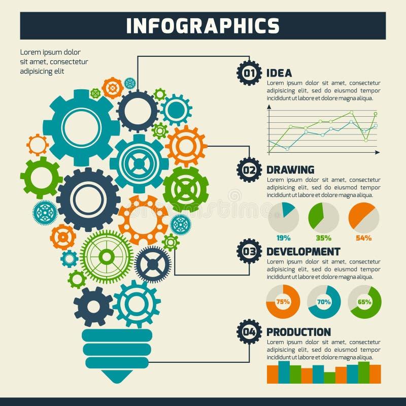 Ampola Infographics da engrenagem ilustração royalty free