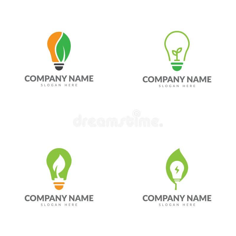 Ampola, molde verde do logotipo da energia ilustração royalty free