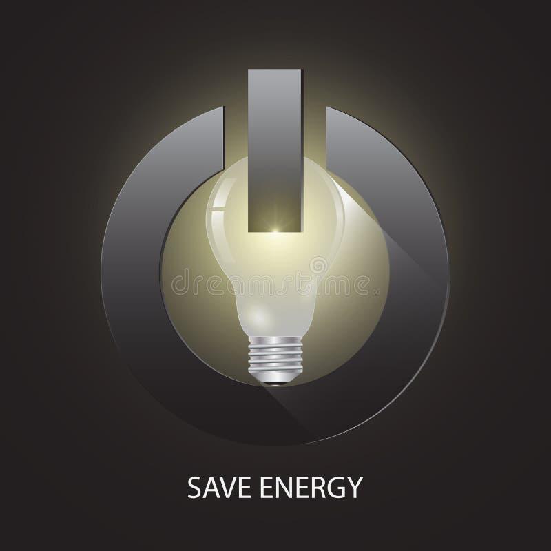 Ampola no botão do poder, conceito ambiental da energia das economias da hora da terra ilustração stock