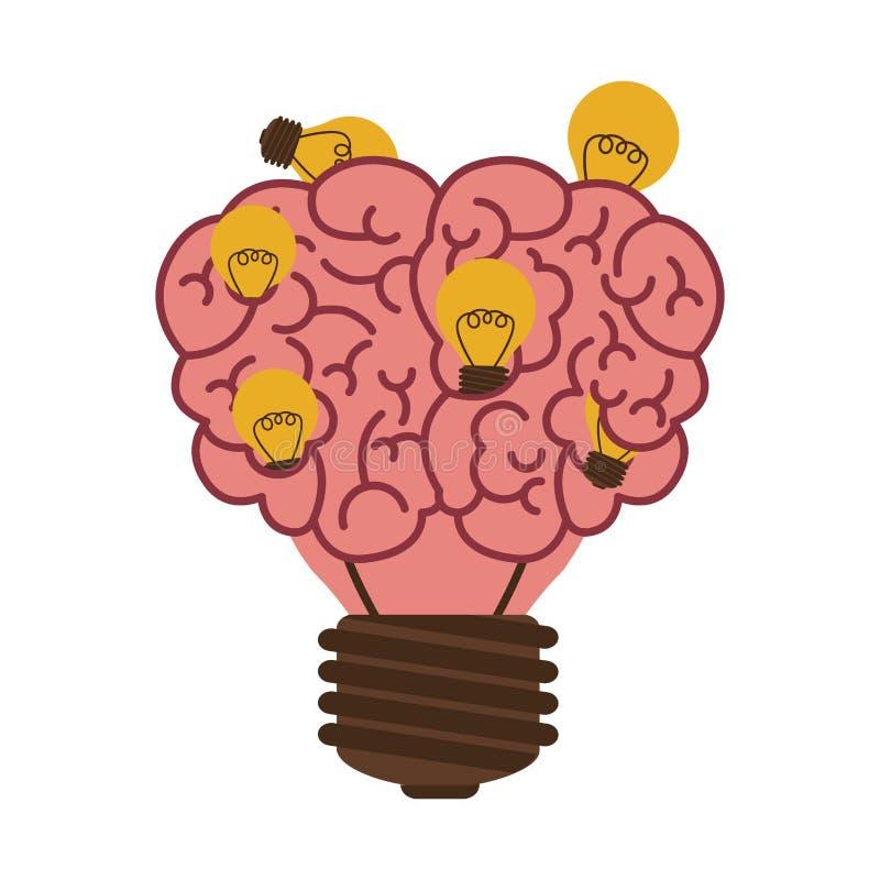 Ampola no formulário do ícone do cérebro com o bulbo pequeno múltiplo ilustração do vetor