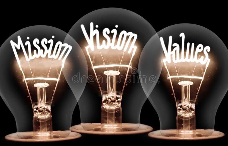 Ampolas com missão, visão, conceito dos valores imagens de stock