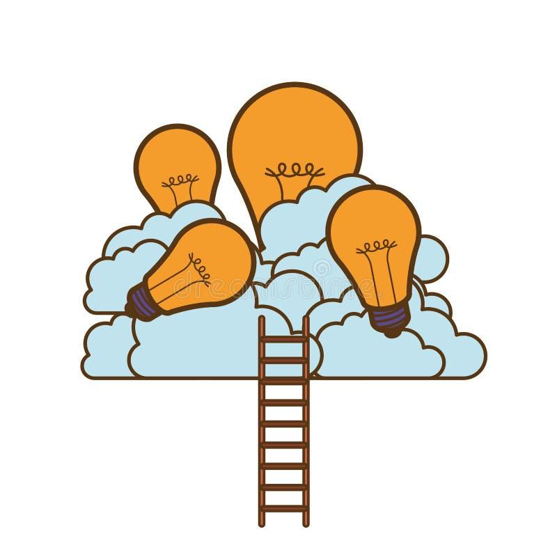 Ampolas com nuvens e escadas ilustração stock