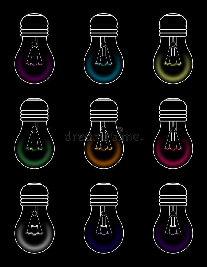 Ampolas com todas as cores no isolamento preto ilustração do vetor