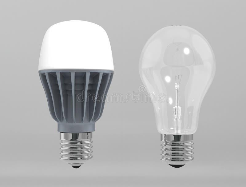 Ampolas do diodo emissor de luz e dos filamentos ilustração do vetor