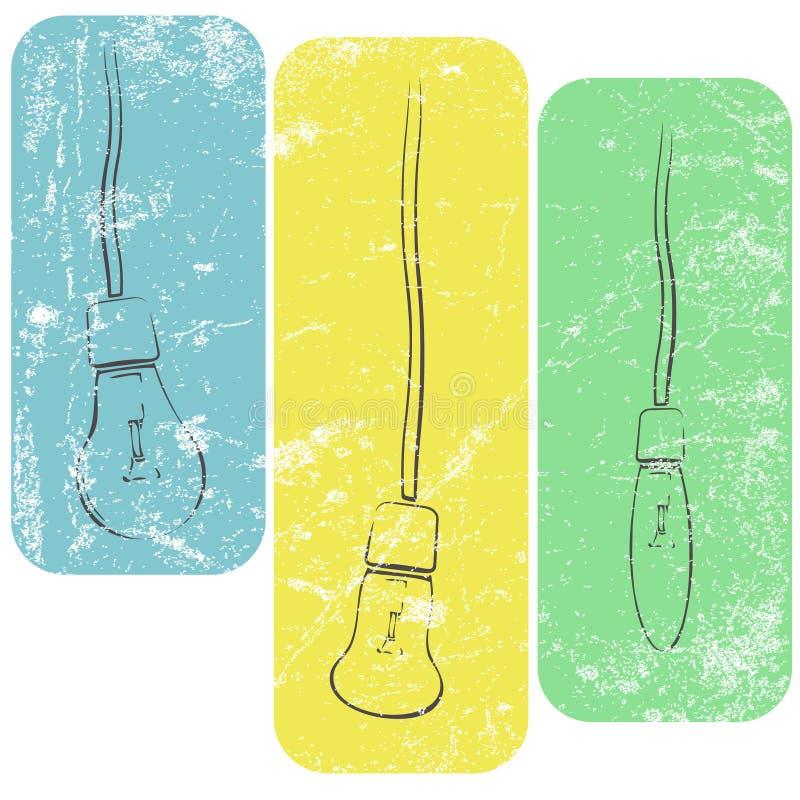 Ampolas do Grunge em fios ilustração stock