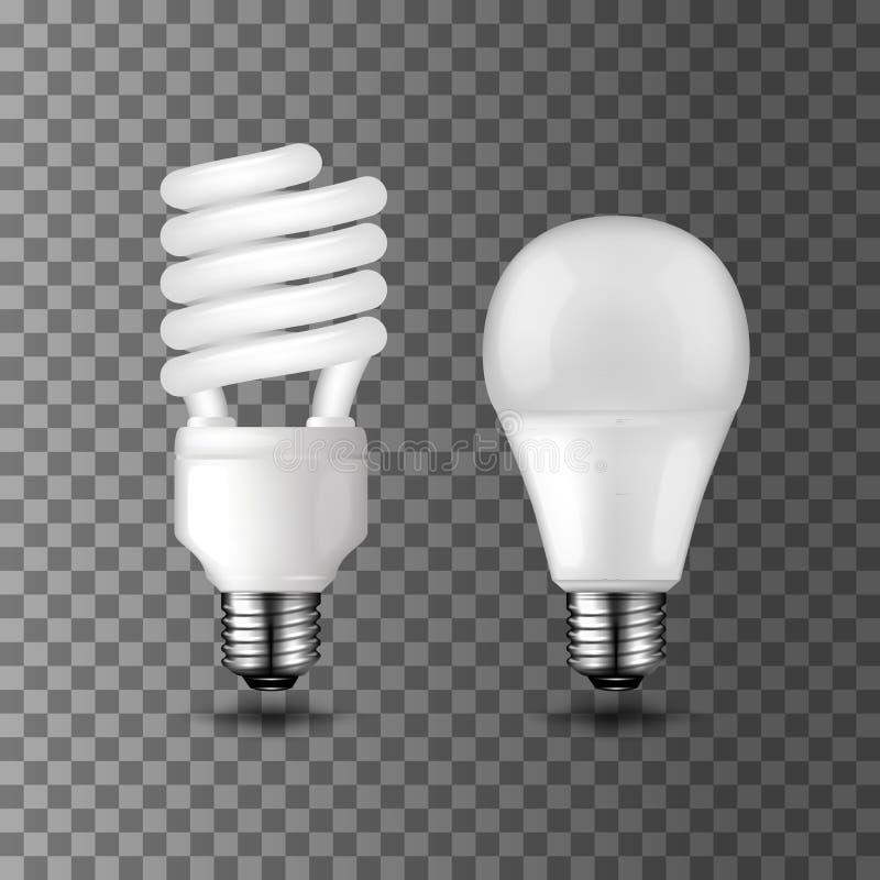 Ampolas do vetor da economia de energia e da economia de energia ilustração royalty free