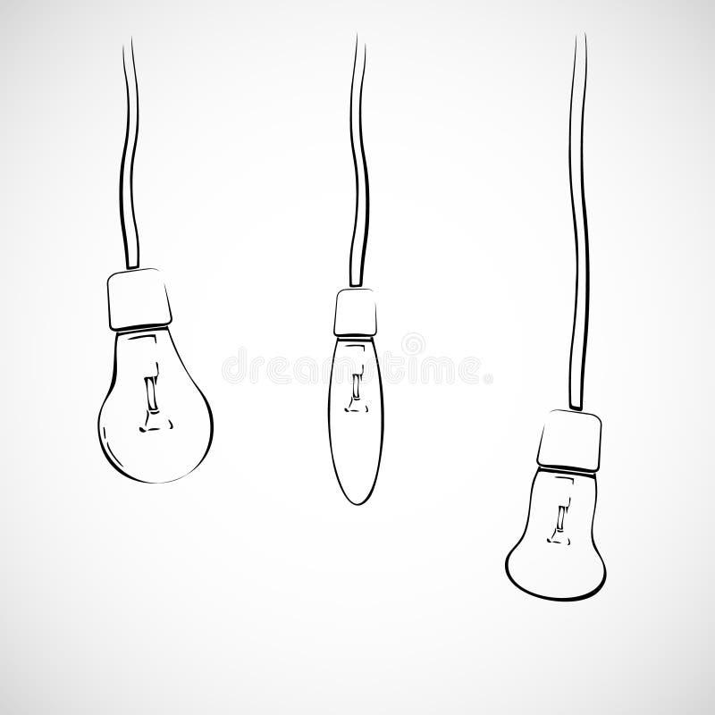 Ampolas em fios ilustração stock
