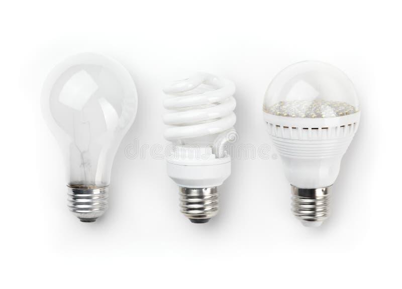 Ampolas fluorescentes e Incandescent do diodo emissor de luz foto de stock