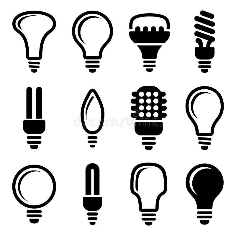 Ampolas. Grupo do ícone do bulbo ilustração do vetor