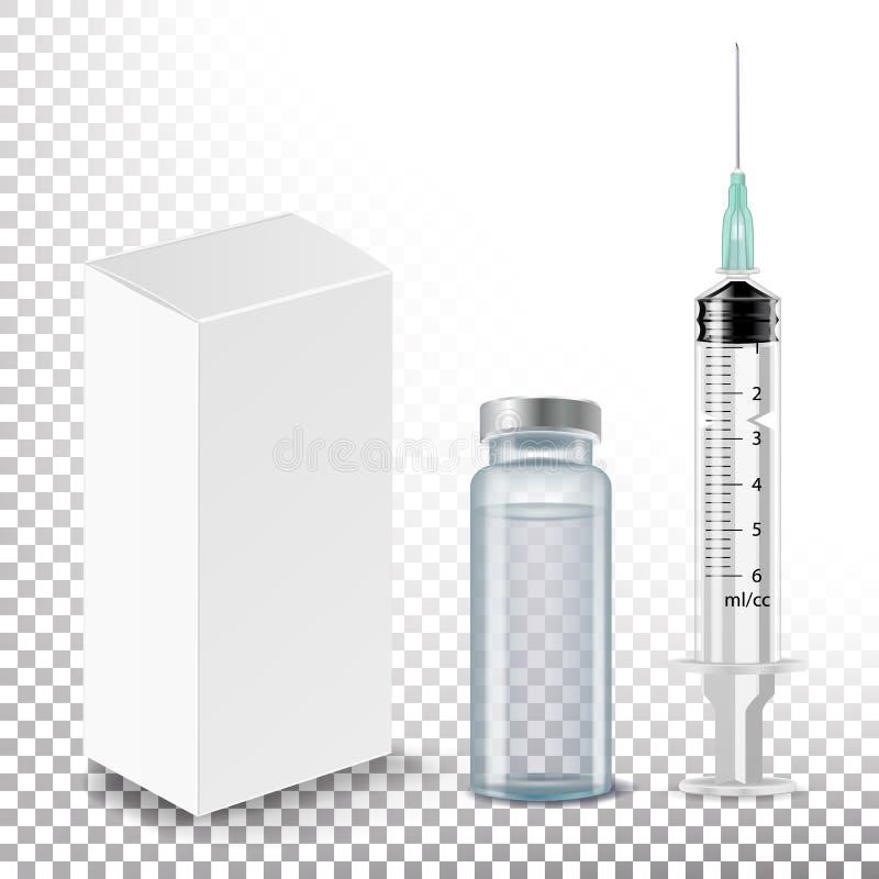 Ampolla médica, caja blanca del paquete, vector de la jeringuilla Ilustración realista ilustración del vector