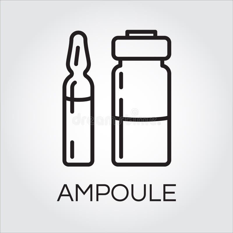 Ampolla médica para las drogas o la vacuna Icono en estilo del esquema stock de ilustración