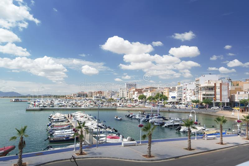 Ampolla town in Tarragona, Spain next to the Mediterranean sea. Marina and nautical port with empty copy space stock photography