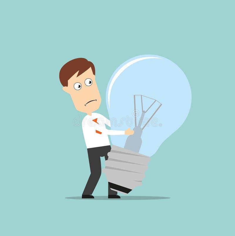 Ampoule échouée par homme d'affaires d'idée illustration libre de droits