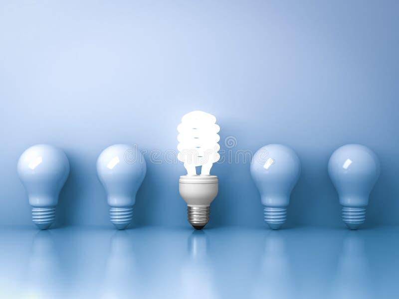 Ampoule économiseuse d'énergie, une ampoule fluorescente compacte rougeoyante se tenant des ampoules incandescentes non allumées  illustration de vecteur