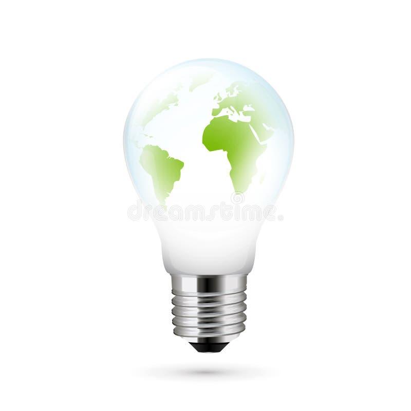 Ampoule électrique avec un globe du monde illustration libre de droits