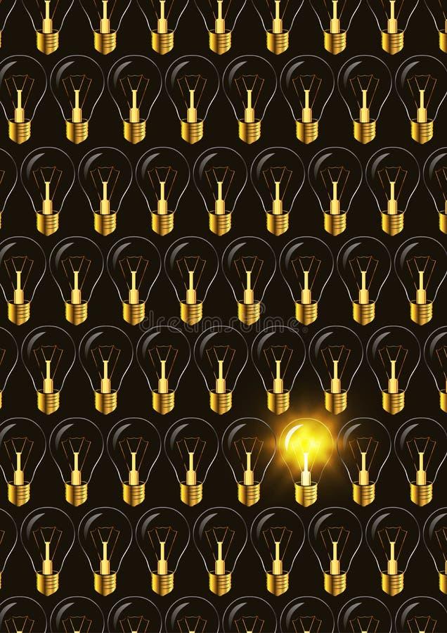 Ampoule électrique parmi commuté outre d'autre dans l'obscurité illustration libre de droits