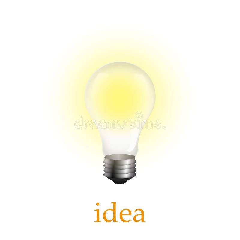 Ampoule allumée réaliste d'isolement sur le blanc Illustration de vecteur illustration stock