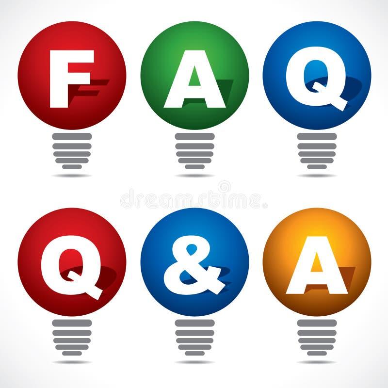 Ampoule avec le texte de FAQ et de Q&A illustration de vecteur